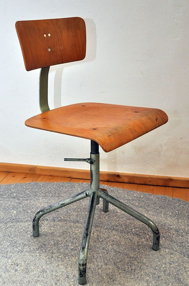 Work Chair Architect Chair adjustable with beautiful Patina Bauhaus Age