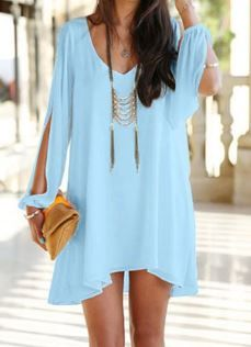 Love this color Blue! So Pretty! Stylish Sexy V-Neck Long Sleeve Hollow Out Chiffon Beach Dress For Women