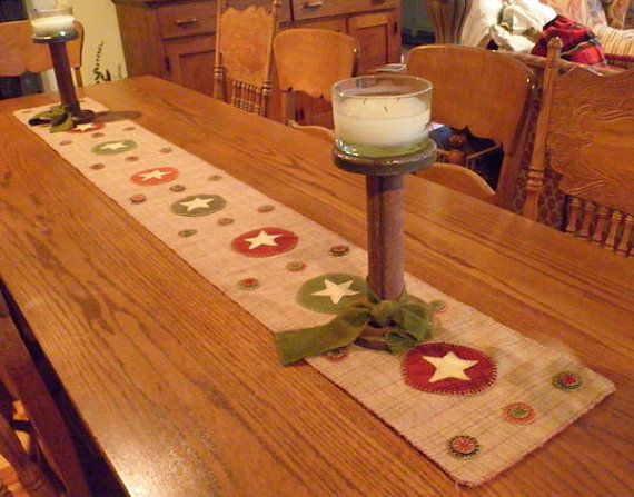 STAR Primitive Wool Penny Rug Table Runner by mistypondprimitives, $65.00