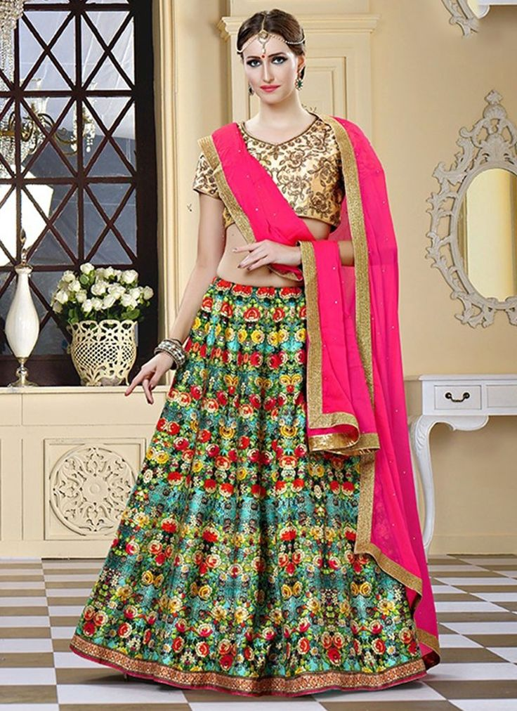 Multi Colour Bhagalpuri Silk Circular Lehenga