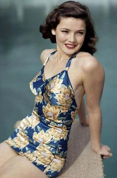 Gene Tierney in a gorgeous swimsuit.