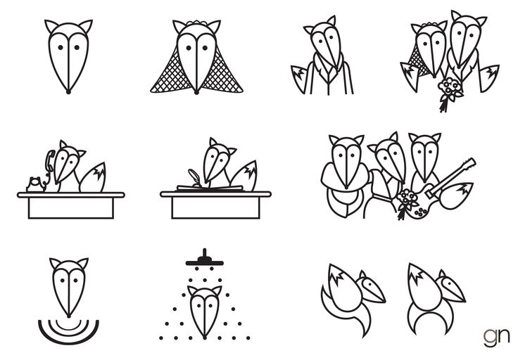 Wedding organizer company for foxes - pictograms