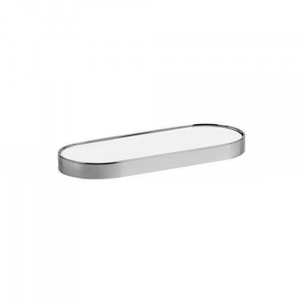 49€ Estante Oval DOTT. Fabricado en latón cromado. Disponible en acabado cromo-negro y cromo-blanco. Medidas Ancho:24,5cm Fondo:9,5cm Altura:2cm