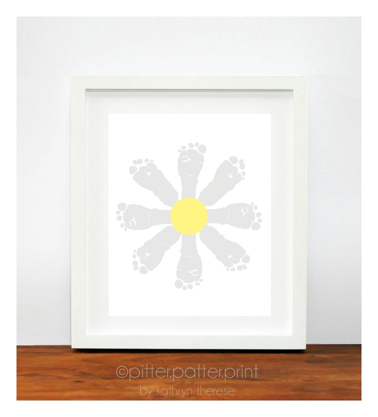 Baby Girl Nursery Decor - Daisy Baby Footprint Art - Yellow and Gray Nursery - Flower Kids Wall Art -  Personalized Girls Room Ideas. $30.00, via Etsy.