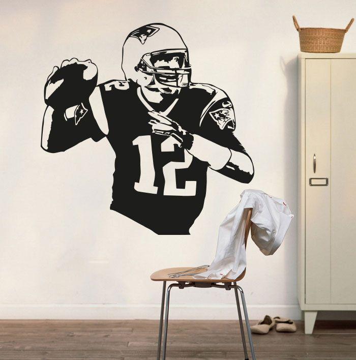 New England Patriots Tom Brady Wall Decal Art Sticker Vinyl Home Decoration Living House Tom Brady Poster Patriots Decal  NY-322