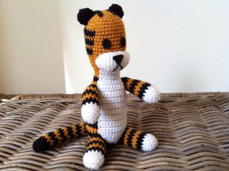 Harold the tiger plush doll version crochet amigurumi (inspired by Calvin and Hobbes) plushie softie by LottiesCreations on Etsy https://www.etsy.com/listing/100168823/harold-the-tiger-plush-doll-version