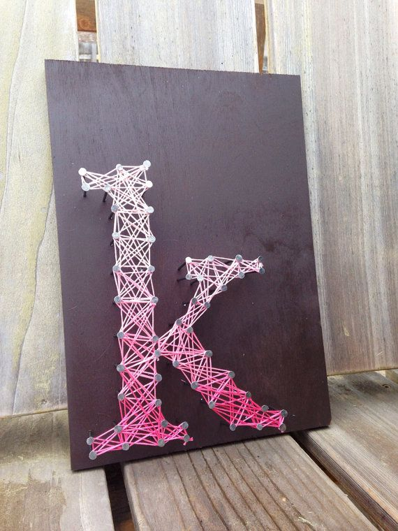 letter k typography string art custom letters by kimberlygeer