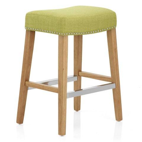 Audley Oak Bar Stool Green Fabric