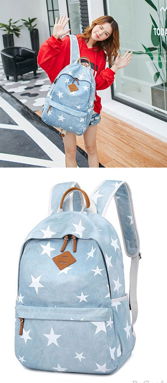 Fresh Light Blue Student Stars Denim School Bag Canvas Backpack for big  sale!  denim b3a095c71667d