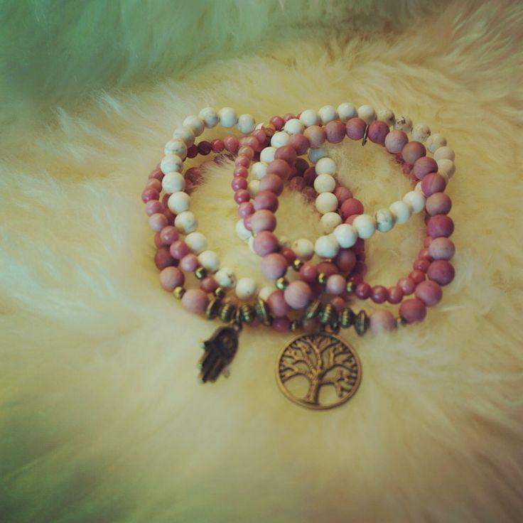 Rhodonite malabead bracelet, Hamsa and Tree of life