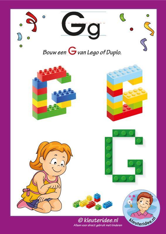 Pakket over de letter g blad 16, maak een G van lego of duplo, kleuteridee, free printable.