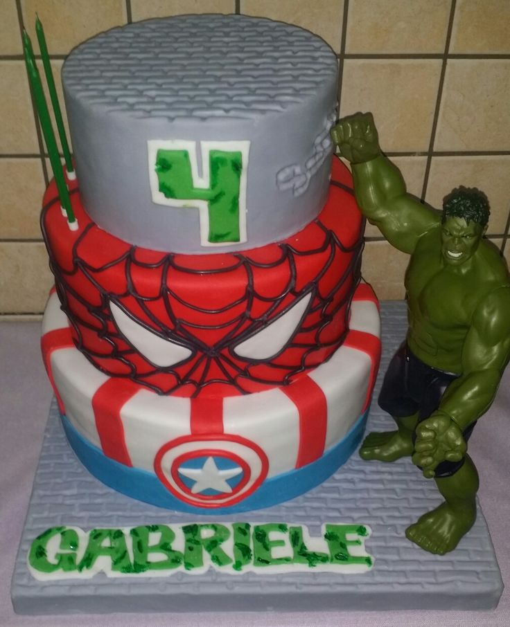 Capitan America. Spiderman. Hulk. Happy birthday Gabriele