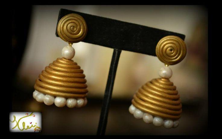 Gold and white jhumka