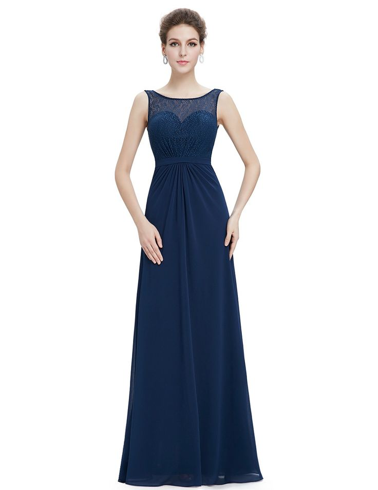 Sleeveless Long Evening Dress with Lace Bodice ...
