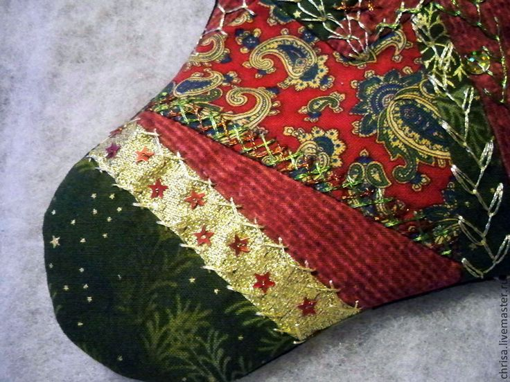 Купить Новогодний носок для украшения интерьера в духе Викторианской Англии. - новогодний сапожок, новогодний интерьер