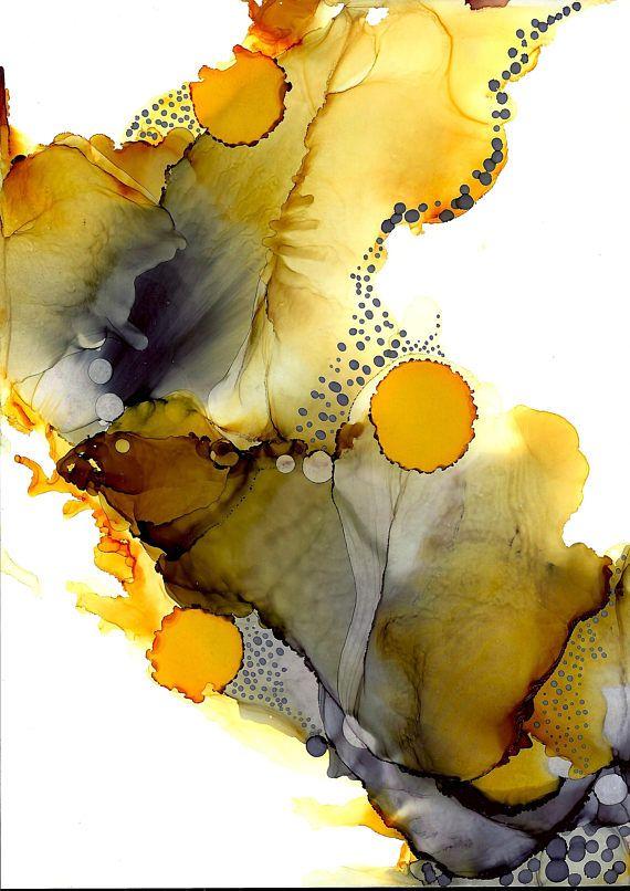 Artwork Mounted PRINT – Honey Lure – A4 Alcohol Ink Artwork