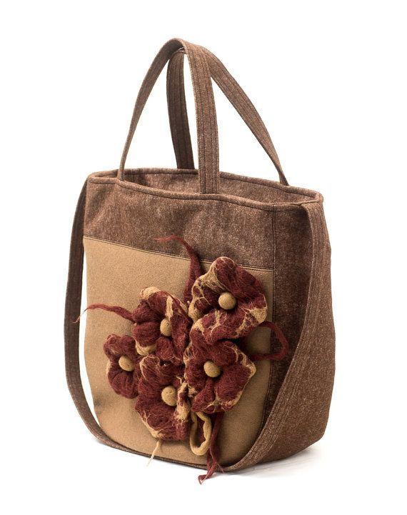 Brown felt handbag with a floral motif. Brown & Beige wet felted flowers by Anardeko