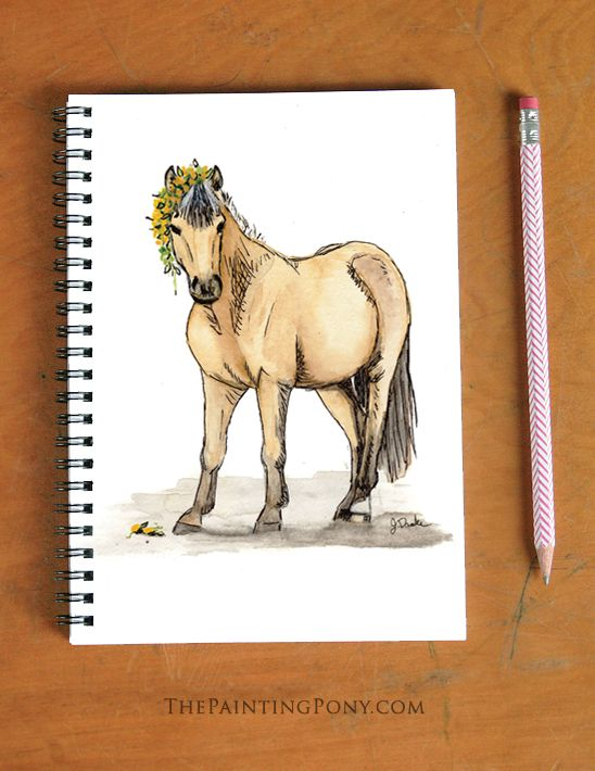 Cute Buckskin Pony with Dandelions Watercolor Art Spiral Notebook - The Painting Pony Norwegian Fjord horse - equestrian style note books