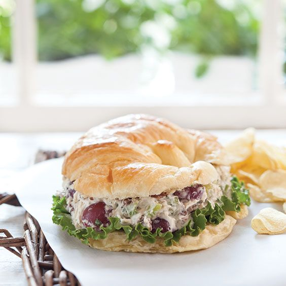 You can't go wrong with this traditional chicken sale. Serve on a flaky croissant, this chicken salad is seasoned with tarragon and packed with grapes.