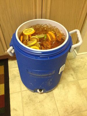4 gallons of sweet tea Added 2 gallons and 1 big bottle of Jeremiah Weed's Sweet Tea Vodka (it's sweet tea flavored vodka) to a 5 gallon ice chest. And added 1 gallon of water. Ice. And fresh lemons, limes and oranges. Drink (responsibly) and enjoy!