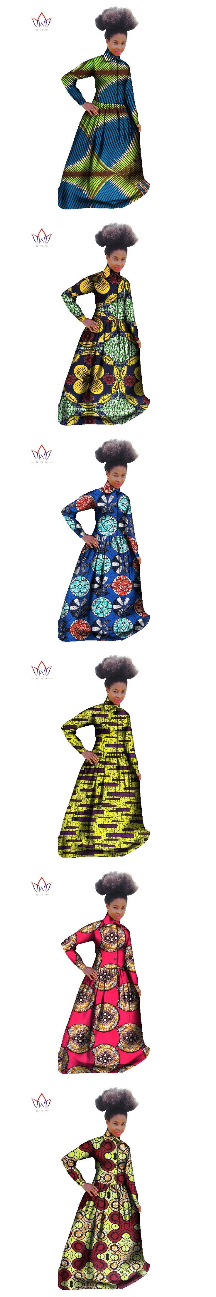 African Dress African Women Clothing Long Sleeve Maxi Dress Bazin Rich 6XL t Shirt Dress Dashiki Dresses African Clothing WY529