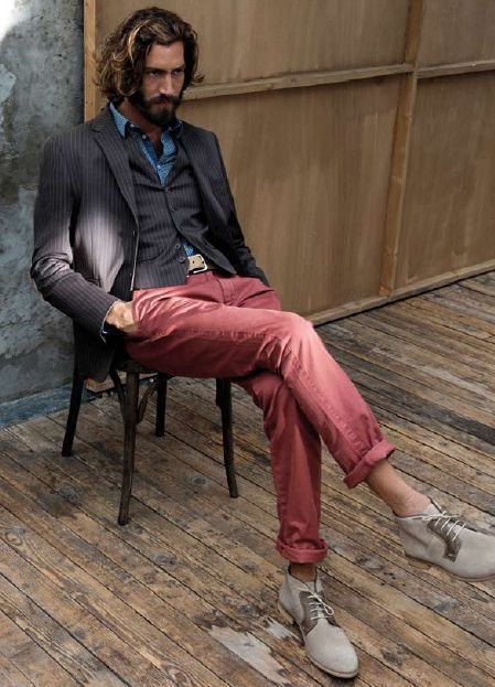 A few colors of chinos, maybe dark and light khaki, olive, and any other color you like.                                                                                                                                                                                 Plus