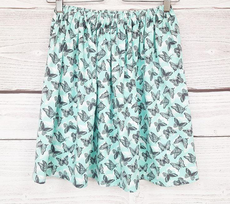 Papillons Jupe, coton menthe, vert, blanc, gris, : Jupe par atelier-mademoiselle-k