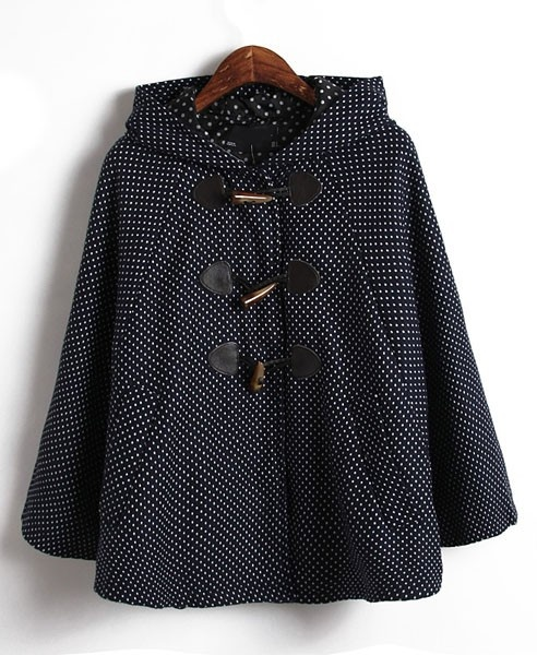 Spot Hooded Cape Coat- if i end up living in a cold place i WILL get a cute new coat... i love coats