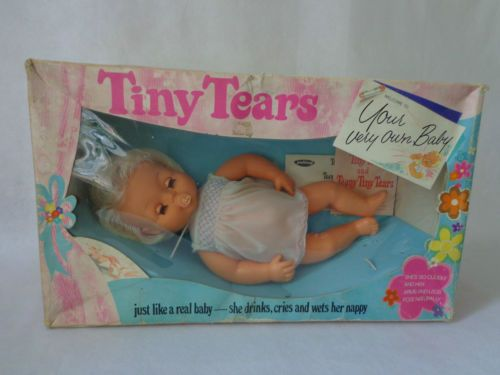Vintage-Tiny-Tears-Palitoy-Doll-3-4-Eye-1970s-1980s-16-Dummy-Dress-Rare-Box