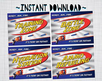 Nerf Party Signs Nerf Wars Birthday Party Decorations Party Supplies Wall Posters - INSTANT DOWNLOAD with matching Invitation Available