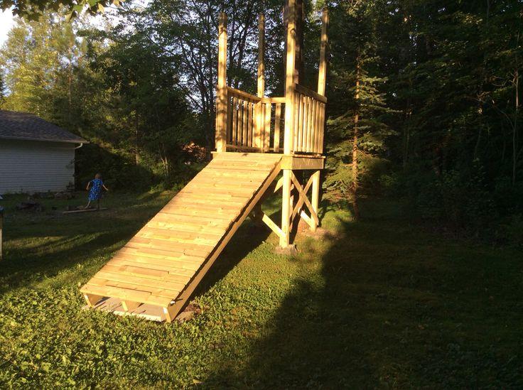Zip line platform | Backyard play, Backyard fun, Backyard ...