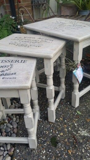 Shabby chic table nest in Annie Sloan chalk paint by Imperfectly Perfect xx