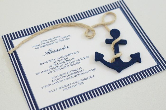 nautical baptism invitation | Nautical Anchor Christening Invitation - Le Petit