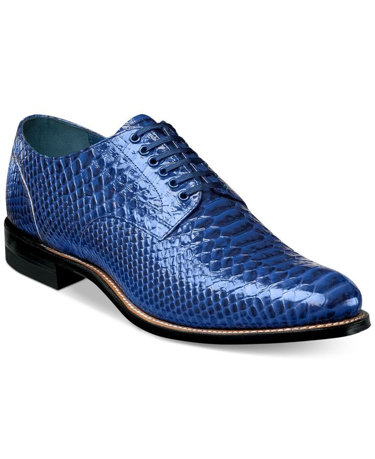 Dressy with an exotic touch. Outfit to the nines with these printed leather oxfords from Stacy Adams.   Leather upper; rubber sole   Imported   Stacy Adams men's oxfords   Exotic animal-printed upper