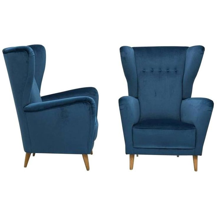 Pair of Italian Modernist High Backed Armchairs Style of Parisi, 1950s | From a unique collection of antique and modern armchairs at https://www.1stdibs.com/furniture/seating/armchairs/