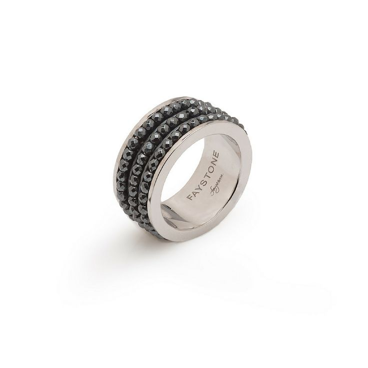 ARIES RING | Platinum plated Sterling Silver 925 Ring with Hematite gemstones | #platinum #silver #hematite #gemstones