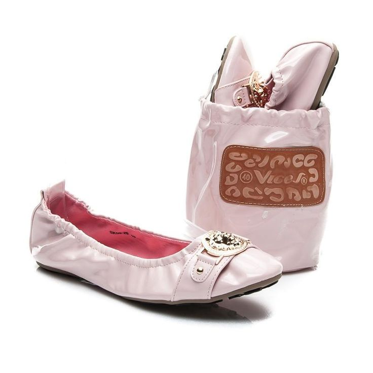 Różowe elastyczne balerinki z torebką