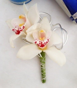 orchid boutonniere with wire treatment by @cactusflower #prom #boutonniere