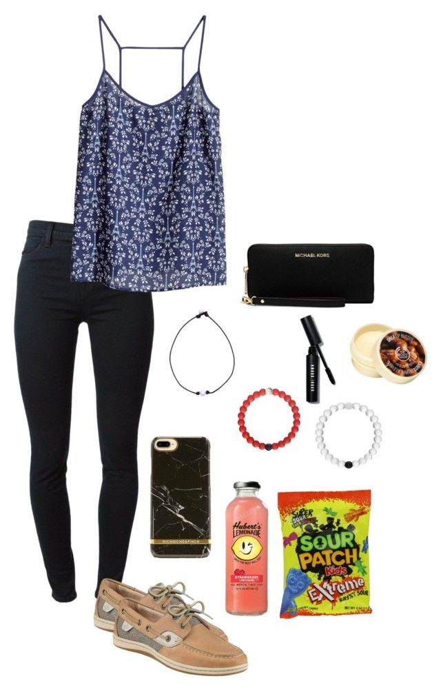 """""""#5\\pier with friends"""" by gracelizabethh ❤ liked on Polyvore featuring J Brand, H&M, Sperry, Richmond & Finch, MICHAEL Michael Kors, Bobbi Brown Cosmetics and The Body Shop"""