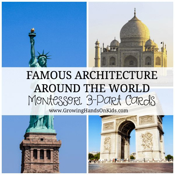 famous architecture around the world 3 part cards around