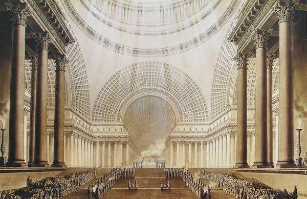 Reusachtige fantasie architectuur van Boullee, reusachtig imposant. Etienne-Louis Boullee, projekt Metropole, 1781
