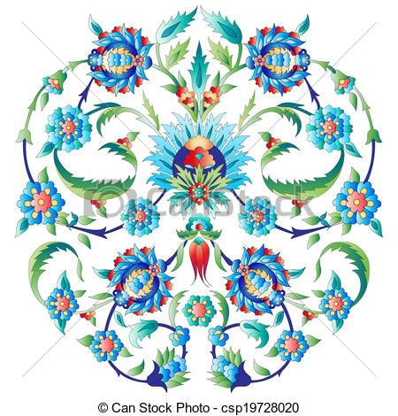 Vector - Ottoman art flowers seven - stock illustration, royalty free illustrations, stock clip art icon, stock clipart icons, logo, line art, EPS picture, pictures, graphic, graphics, drawing, drawings, vector image, artwork, EPS vector art