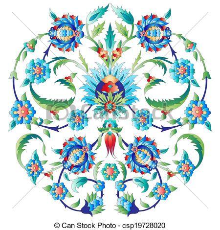 Ottoman art flowers seven - csp19728020
