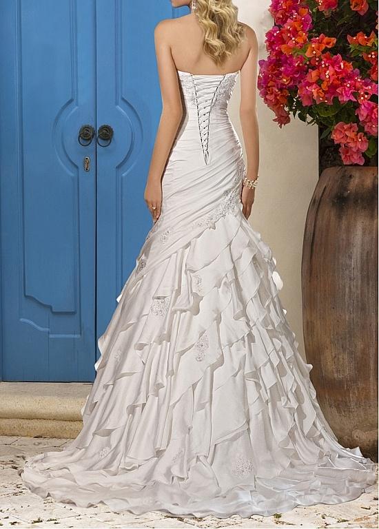 Dreamy satin chiffon satin mermaid sweetheart neckline for Drop waist wedding dress with sweetheart neckline