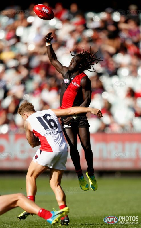 Anthony McDonald-Tipungwuti of the Bombers attempts to gather the ball during the 2016 AFL Round 02 match between the Melbourne Demons and the Essendon Bombers at the Melbourne Cricket Ground, Melbourne on April 2, 2016.