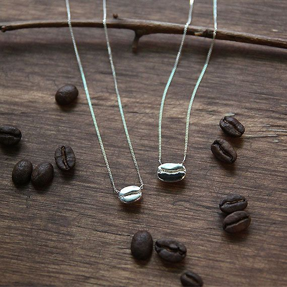 Coffee Necklace Coffee Bean Necklace Sterling Silver by 141ATELIER