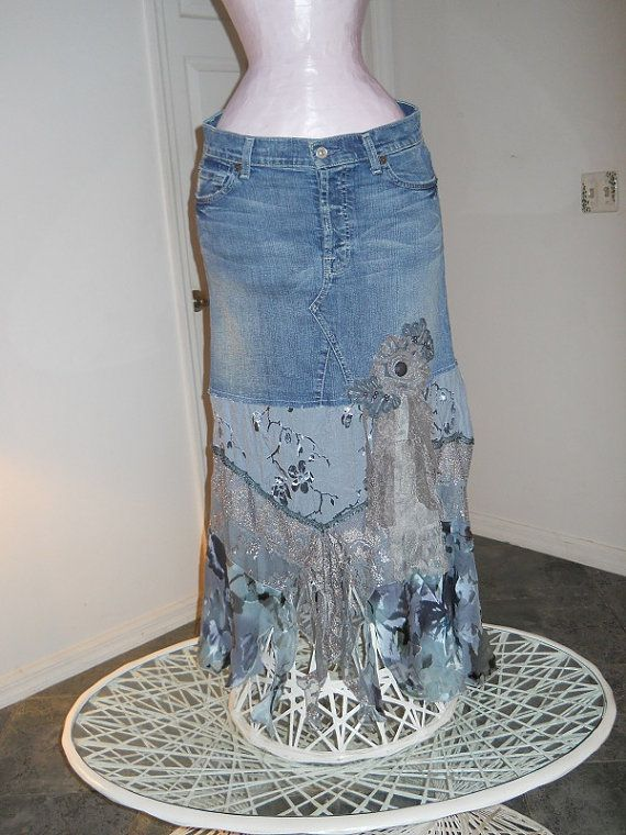 I would wear this everyday...I love it!  La Vie Bohème jean skirt ruffled lace silk by bohemienneivy, $125.00