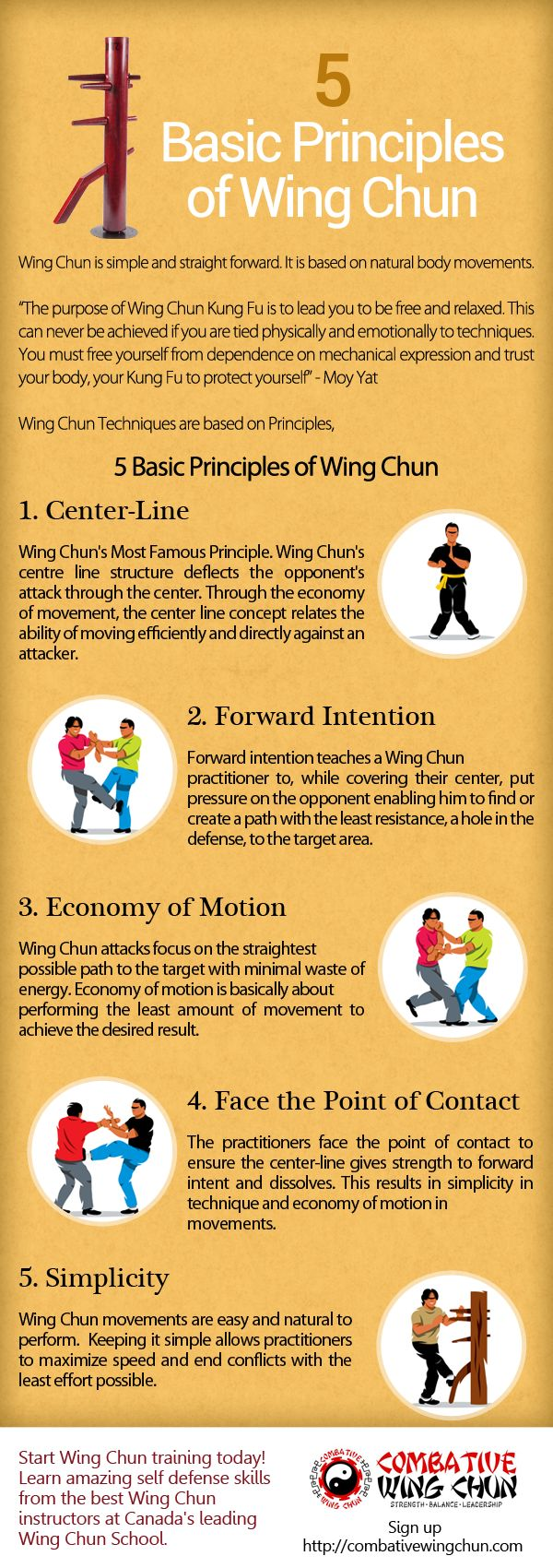 Wing Chun's Most Famous Principle. Wing Chun's centre line structure deflect the opponent's attack through the centre. Through the economy of moment, the centre line concept relates the ability of moving efficiently and directly against an attacker.