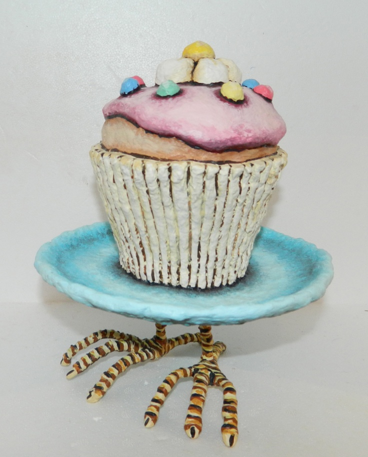 Cupcake with Legs  Mad in New Zealand By Gillian Saunders  $280 NZD  220mm high and 200m wide  See more of her work here  http://coolstoregallery.co.nz/GillianSaunders.htm