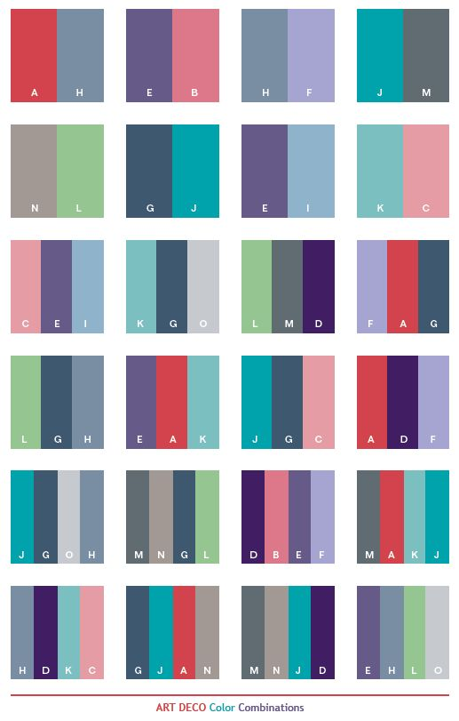 Color Schemes | Art Deco color schemes, color combinations, color palettes  for print .